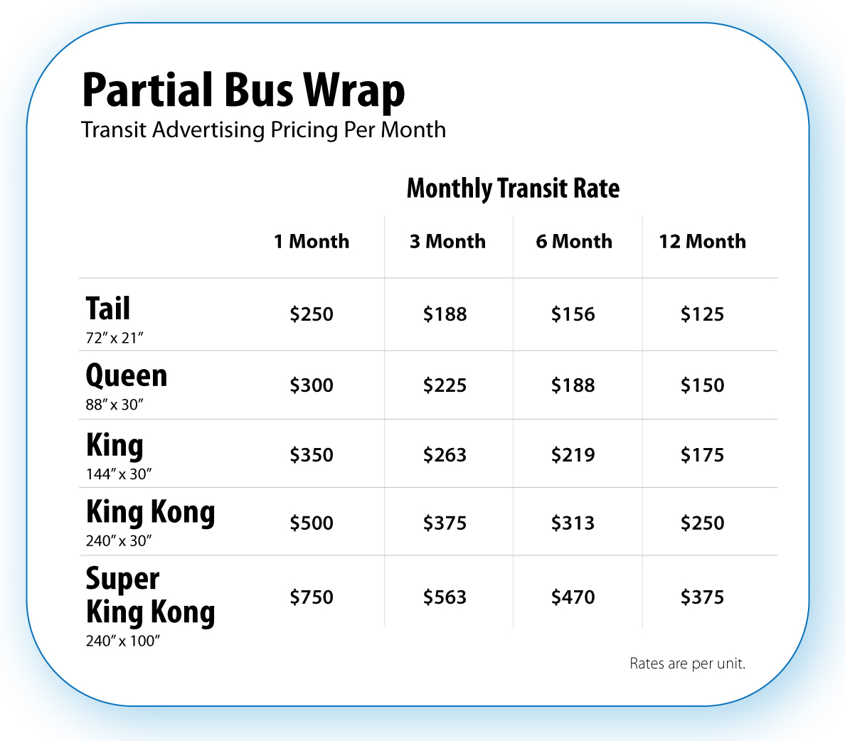 Partial Wrap Transit Advertising Pricing